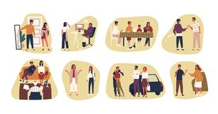 Collection of conflict situations or scenes between parents and their teenage kids. Bundle of adult people and teenagers stock illustration