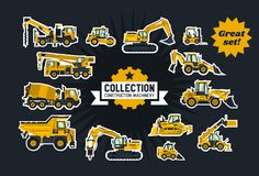 Collection of construction equipment. Special equipment. Objects circled white outline and isolated on a dark background royalty free illustration
