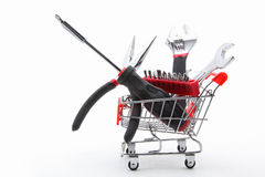 Collection of construction tools in cart Royalty Free Stock Photos