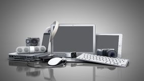 Collection of consumer electronics 3D render on grey background. Collection of consumer electronics 3D render on grey Stock Image