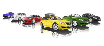 Collection of Contemporary Shiny Colourful Car Concept Stock Photo