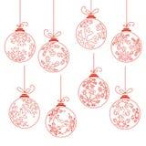 Collection of contour Christmas balls Royalty Free Stock Photos