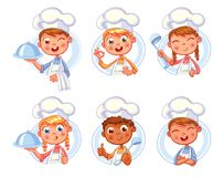 Happy smiling Chef Cook collection. Collection of Cook Chef portraits in different situations. Child in a cook`s cap and with a towel, holds a ladle. Kid makes Royalty Free Stock Photography