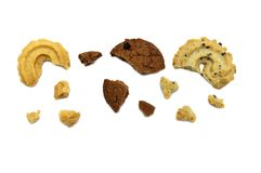 Collection of cookies and biscuit with different flavor. royalty free stock photography