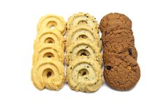 Collection of cookies and biscuit with different flavor. stock photo