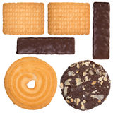 Collection of cookies and chocolate candy isolated Royalty Free Stock Photography