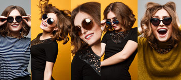 Collection of Cool fashion portrait amazing girl in large round mirrored sunglasses Stock Photography