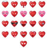 Cool Heart shapes Emoticons set 1 vector illustration
