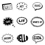 Collection of cool speech bubbles. Collection of various types of cool speech bubbles with associated words Royalty Free Stock Photos