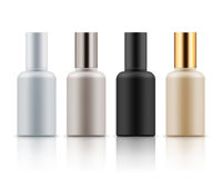 Collection of cosmetic bottles for mockup, 3D realistic illustration. Collection of cosmetic bottles for lotion, cream in four colors, mockup for brand name text Royalty Free Stock Image