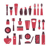 Collection of cosmetics icons. Stock Photography