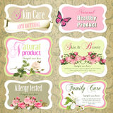 Collection of cosmetics labels and badges Stock Images