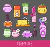 Collection of cosmetics. Nail polish, lipstick, lip gloss, cream jar, soap royalty free illustration