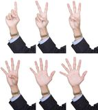 Collection counting fingers 1 to 6. Collection of 6 identical hands in business suit, palm forward, counting fingers one to six. Isolated over white, can be Stock Photos
