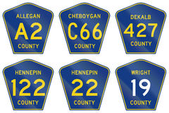 Collection of county-designated highway shields.  Stock Photography