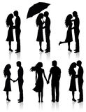 Collection of couples. Different kinds of silhouettes of couples Stock Photos
