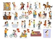 Collection of couples in love on date. Man woman hug, kiss embrace, dance, ride bike tandem bicycle, horse riding, take selfie, eat drink in bar restaurant stock illustration