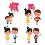 Collection couples love funny happy Stock Images