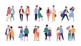 Collection of couples on romantic date. Set of teenage boys and girls holding hands, walking together isolated on white stock illustration