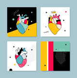 The collection covers templates in pop style. Human heart with geometric shapes. Illustration can be used for invitations, flyers for a party, cover, printed Royalty Free Stock Images
