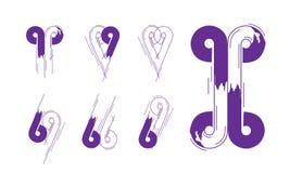 Collection créative de concept de nombre et de Logotype de lettre dans le vecteur Conception et logo abstraits modernes illustration libre de droits