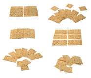 Collection of crackers arragements. Six groups of crackers isolated over white background Stock Photos
