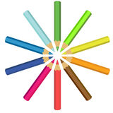 Collection of crayons in circle Stock Photography