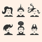 Collection of crazy futuristic haircuts Stock Photography