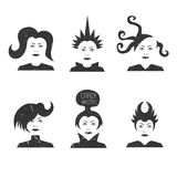 Collection of crazy futuristic haircuts Royalty Free Stock Image