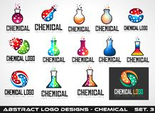 Collection of Creative Chemical Colorful  Logos design Royalty Free Stock Image
