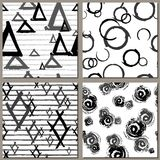 Collection of Creative Hand Drawn seamless patterns. Triangles, drops, rhombus , stripes grunge endless textures. Royalty Free Stock Image