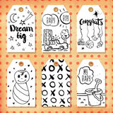 A collection of 6 creative handmade gift tags to set the mood.Congratulations on the birth of a boy and girl, son and daughter. Ve Stock Photo