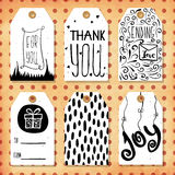 A collection of 6 creative handmade gift tags to set the mood. Kind wish. Vector Stock Photography