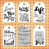 A collection of 6 creative handmade gift tags to set the mood. Vector Stock Image