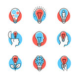 Collection of creative idea light bulb metaphors. Flat style icons. Thin line art illustrations isolated on white Royalty Free Stock Photo