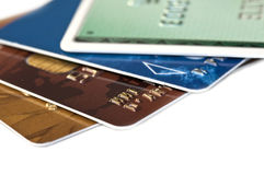 Collection of credit cards isolated on white Royalty Free Stock Images