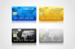 Collection of credit cards  on white Royalty Free Stock Photo