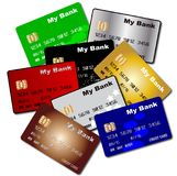 Debit and Credit Cards. A collection of credit and debit cards over a white background vector illustration