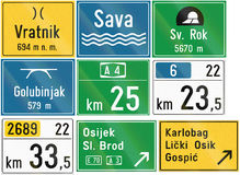 Collection of Croatian road signs Stock Photo