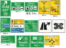 Collection of Croatian road signs Stock Illustration