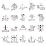 collection of cross with banner. Vector illustration decorative design