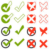 Collection of cross and hook - green and red Royalty Free Stock Image