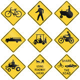 Collection of crossing warning used in the USA Royalty Free Stock Photo