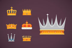 Collection of crown icons awards for winners, champions, leadership. Royal king, queen, princess crowns. Collection of crown icons awards for winners, champions Stock Images
