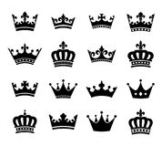 Collection of crown silhouette symbols vol.2 Stock Photography