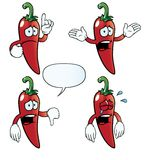 Crying chili pepper set Stock Images