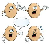 Crying egg set. Collection of crying eggs with various gestures Royalty Free Stock Photo