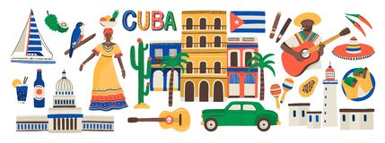 Collection of Cuba attributes isolated on white background - musical instruments, Cuban rum, flag, building, sombrero. Hat, chili pepper. Colorful vector stock illustration
