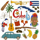 Collection of Cuban icons Royalty Free Stock Photos