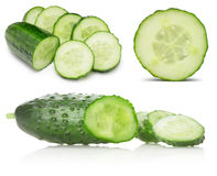 Collection of cucumbers with slices isolated on the white backgr Royalty Free Stock Photos